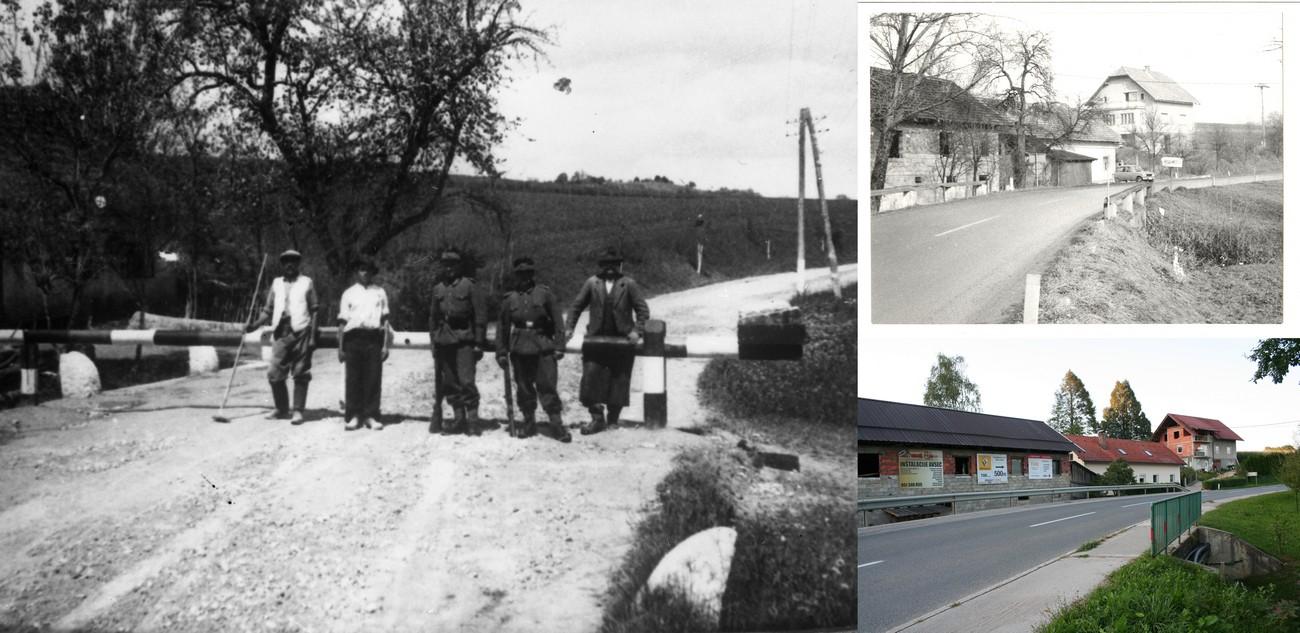 Leon Korošec je verjetno potoval čez prehod na Cikavi. Na levi sliki stražarji in domačini 1941. Na desni sliki ista lokacija 1981 (zgoraj) in septembra 2019 (spodaj). MNZS. Avtorja fotografij: Anton Štampohar in Božidar Flajšman.