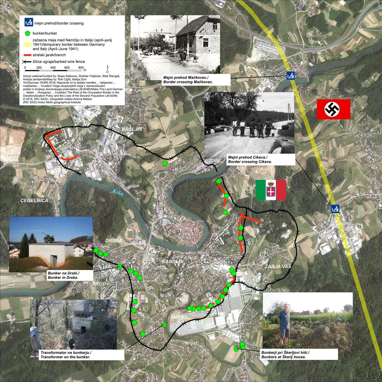 Novo mesto je bilo med vojno obdano z žico in številnimi bunkerji ter utrjenimi strelskimi položaji. Na zemljevidu je približen potek žice in približen položaji bunkerjev. Osnova je bila karta, ki so jo izdelali v obveščevalnem centru XV. divizije konec leta 1944 ali v začetku leta 1945. Označen je tudi približen potek nemško-italijanske meje od aprila do junija 1941 in mejna prehoda v Mačkovcu in na Cikavi.
