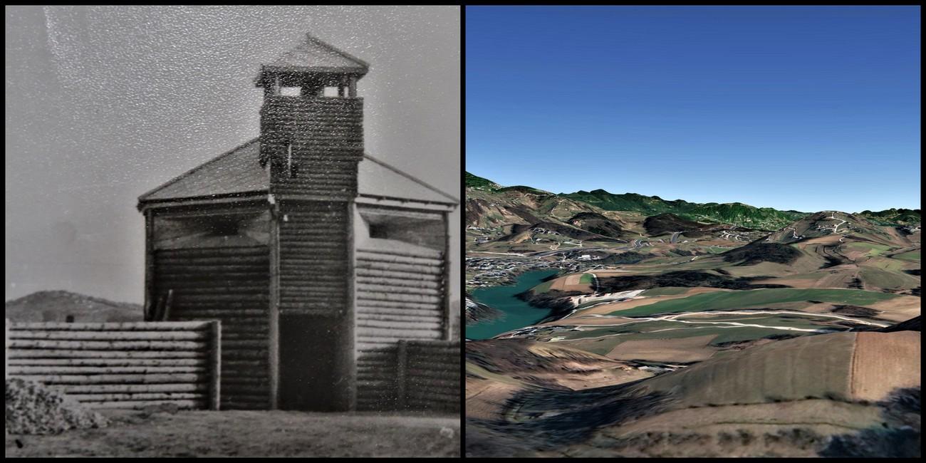 Ragovo. Mitraljezno gnezdo in stolp na griču v Ragovem s pogledom proti Cerovcem v smeri severovzhod. MNZS. Avtor primerjalne fotografije: Jure Tičar.