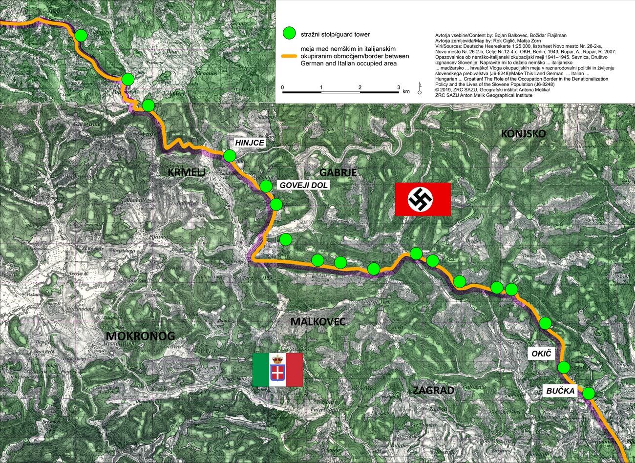 Del Dolenjske na originalnem nemškem zemljevidu z označeno okupacijsko mejo med Nemčijo in Italijo. Dodatno smo označili lokacije nemških stražnih stolpov, ki so bili postavljeni na strateških točkah tik ob meji. Betonski temelji stražnih stolpov so v celoti ohranjeni na Bučki, hribu Okič in Hinjcah, delno pa v Govejem Dolu in še ponekod.