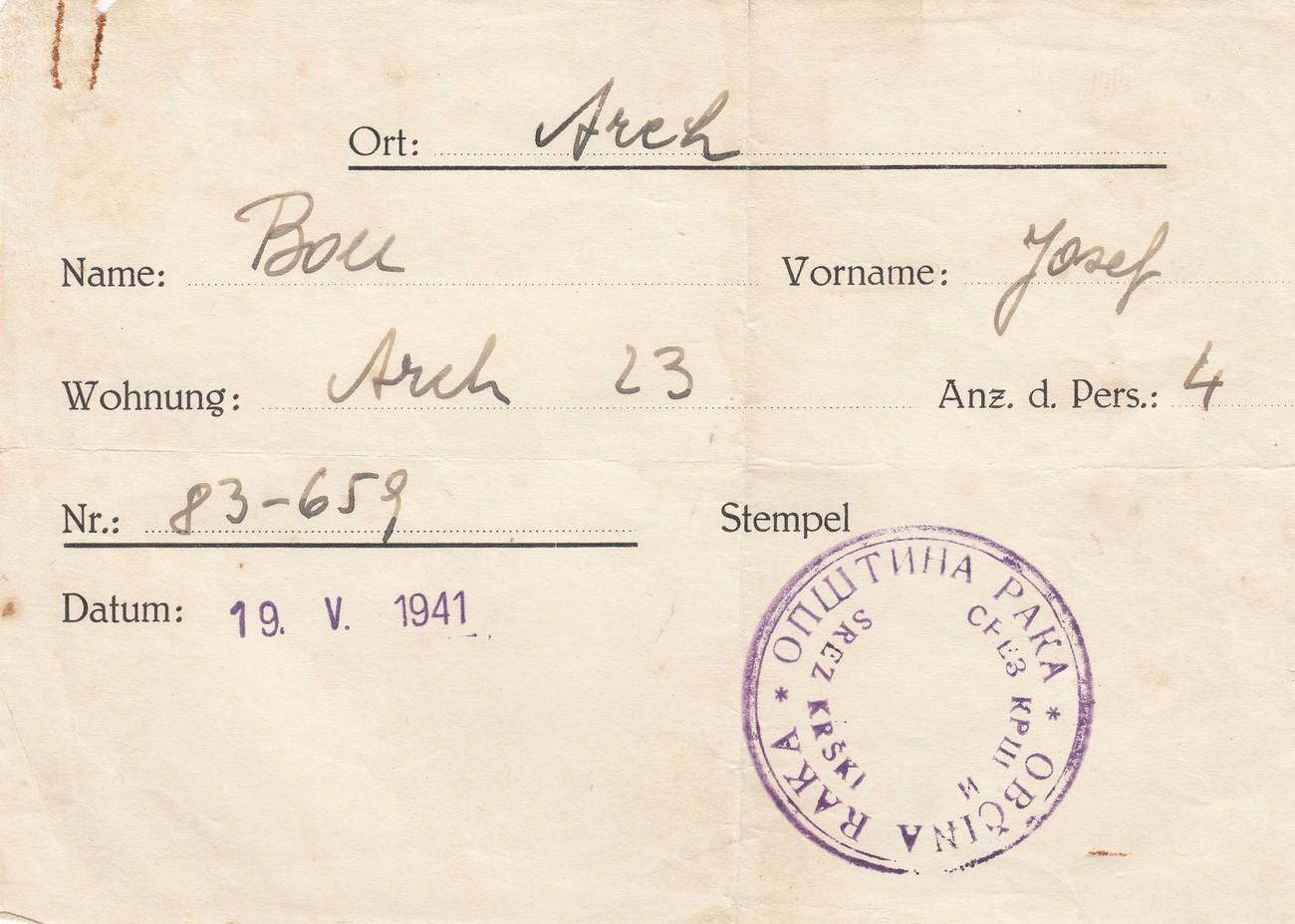 Obvestilo lastniku hiše pred izselitvijo, Raka, 19. 5. 1941. Dolenjski muzej Novo mesto.