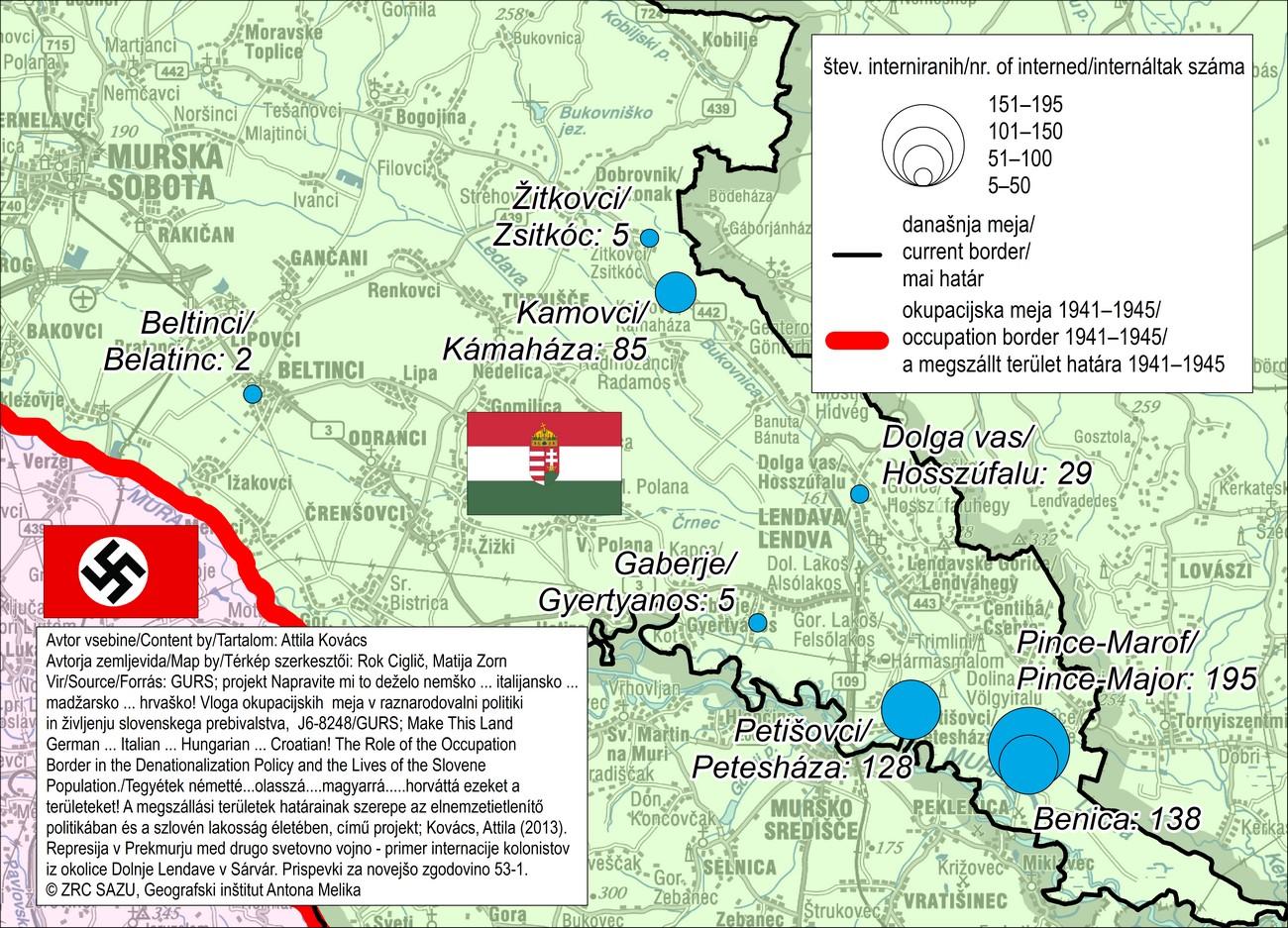 Število v Sárvár interniranih primorskih kolonistov iz okolice Dolnje Lendave leta 1942, po naseljih.