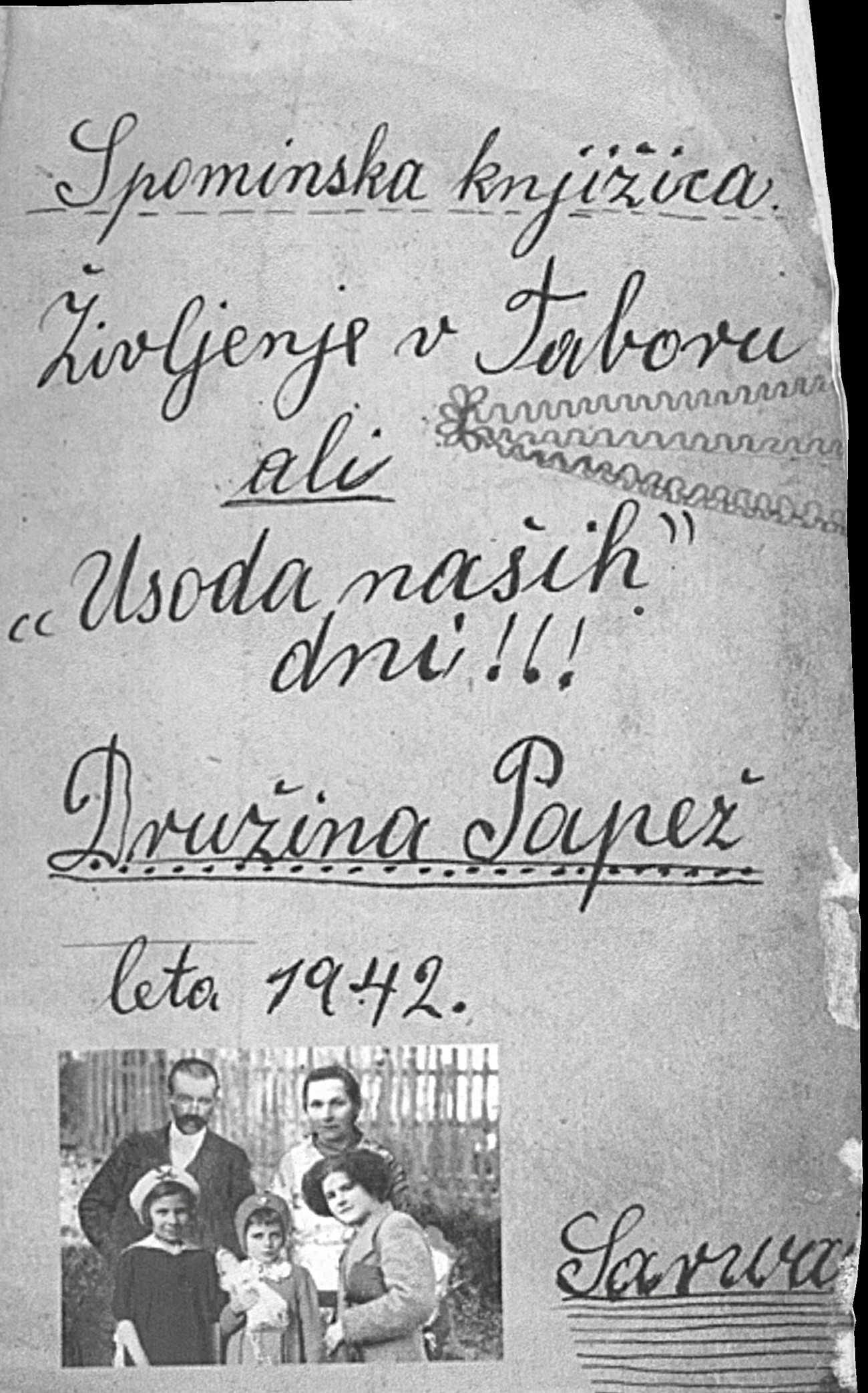 Naslovna stran spominske knjižice Primorke Agneze Papež, ki jo je pisala v taborišču Sárvár. Bensa, Usoda naših dni, 14.
