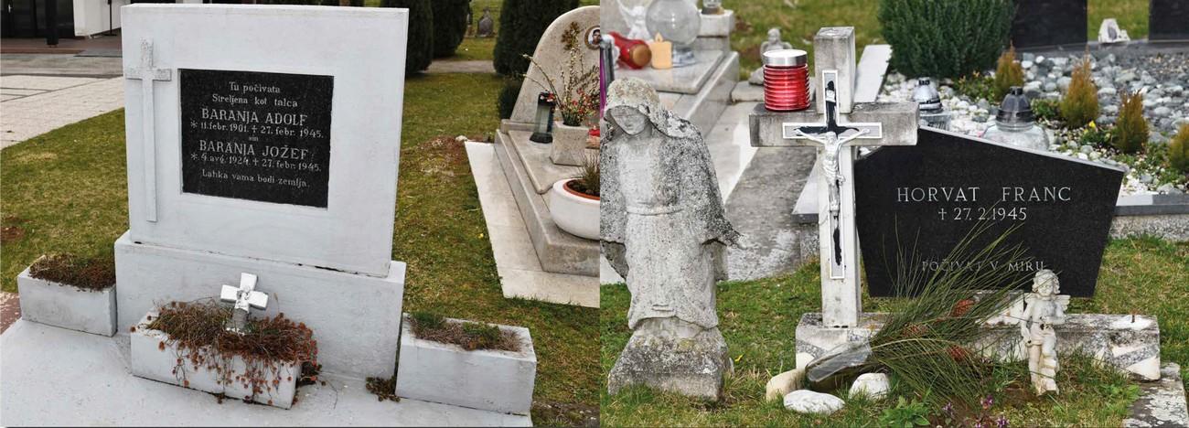 Grobovi treh od šestih ustreljenih talcev. Pokopališče v Turnišču, 4. marec 2020. Avtor fotografije: Božidar Flajšman.