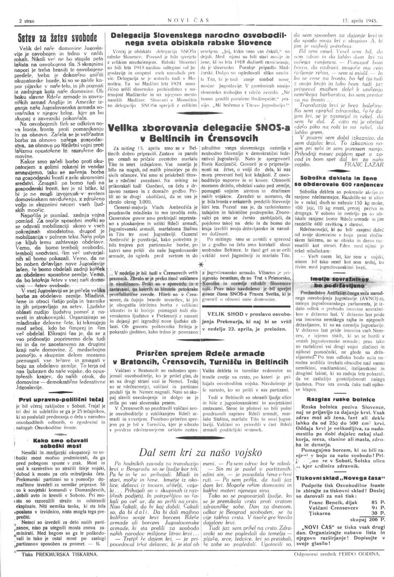 Novica o obisku delegacije Slovenskega narodnoosvobodilnega sveta v Porabju 16. aprila 1945. Novi čas, 17. 4. 1945.
