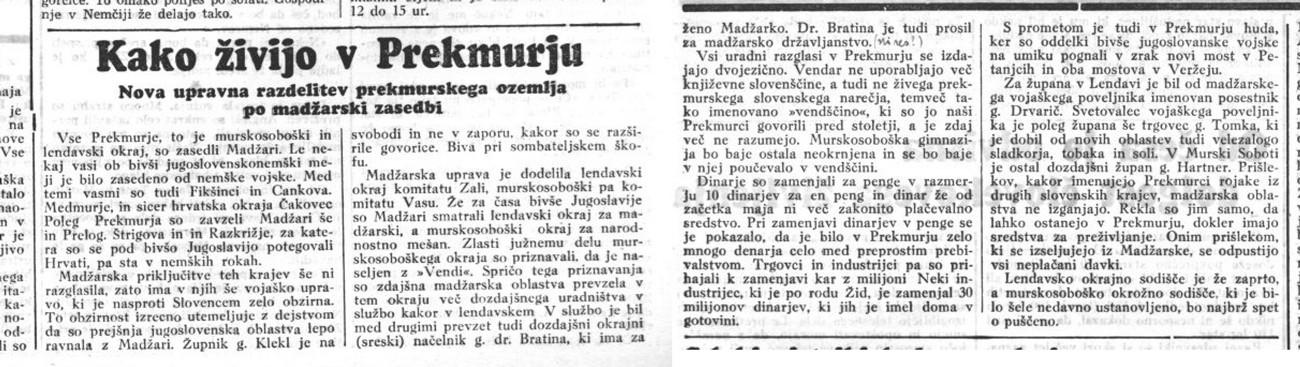 Poročilo časopisa Domovina in Kmetski list o tem, kako je v Prekmurju po začetku okupacije. 22. maj 1941.