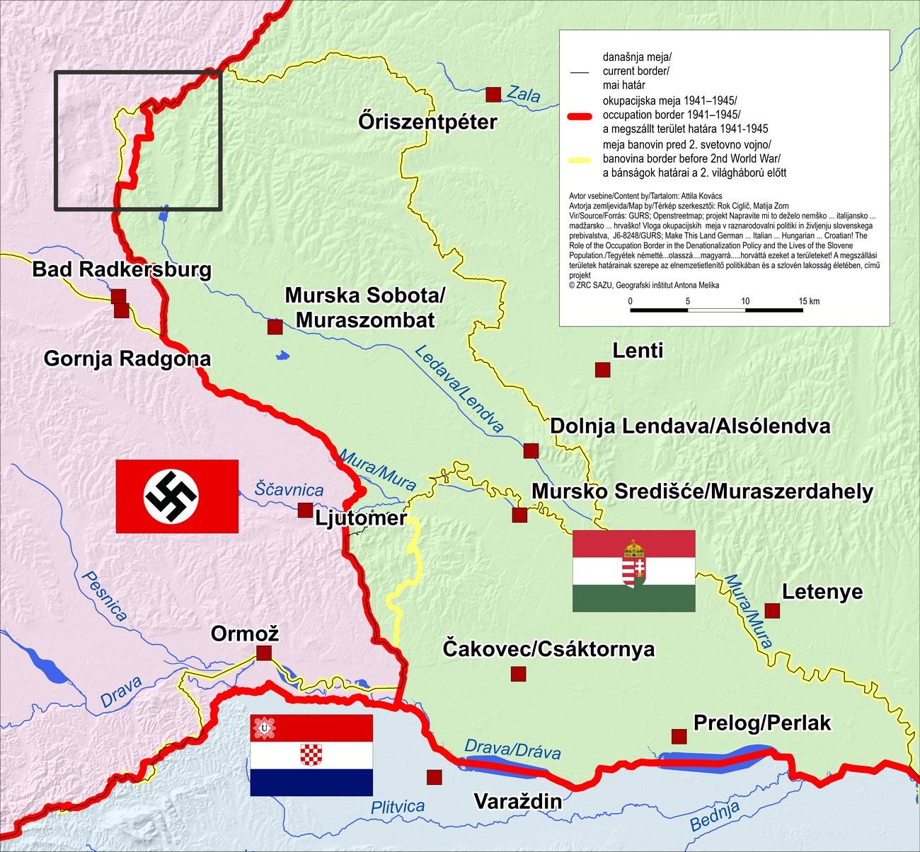 Zemljevid meje med Madžarsko, Nemčijo in NDH. Okupacija in priključitev Prekmurja k Madžarski leta 1941 je po eni strani pomenila ločitev prekmurskih Slovencev od rojakov na štajerski strani Mure in postavitev državne meje na reki, po drugi strani pa ponovno združitev Prekmurcev in Porabcev pod skupno političnoupravno ureditvijo.