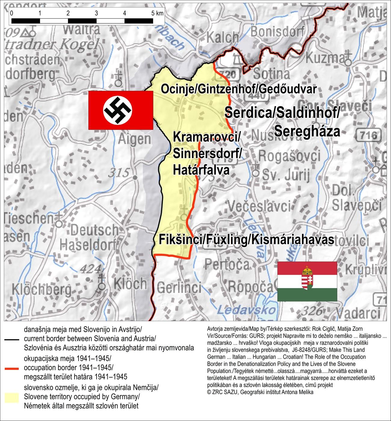 Ozemlje na Goričkem, ki je bilo vključeno v nemški Rajh.