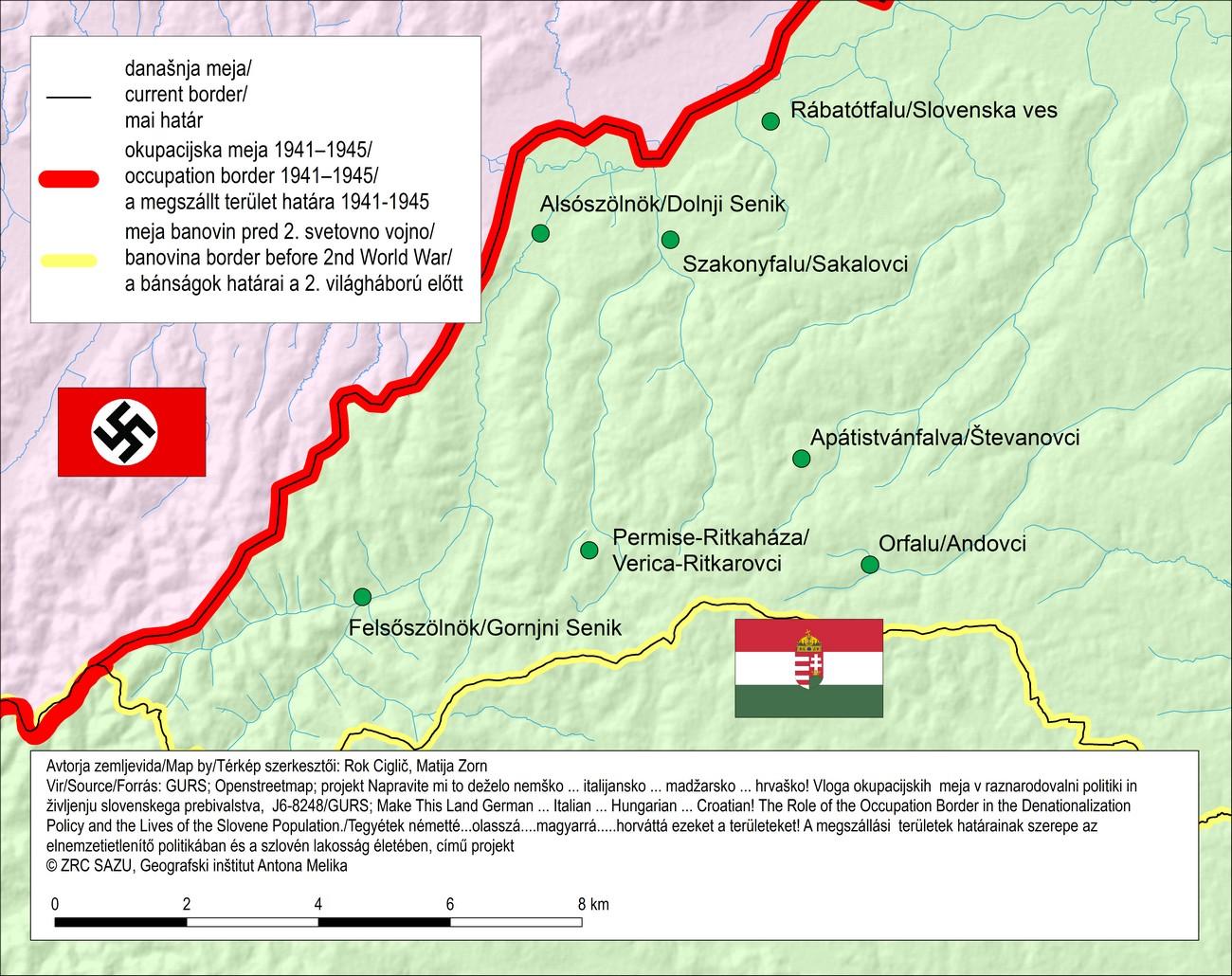Zemljevid Porabja v času druge svetovne vojne. V devetih porabskih vaseh, ki jih je trianonska meja po prvi svetovni vojni ločila od preostalih Prekmurcev, je na podlagi popisa prebivalstva leta 1920 prebivalo 4166 oseb s slovenskim maternim jezikom.