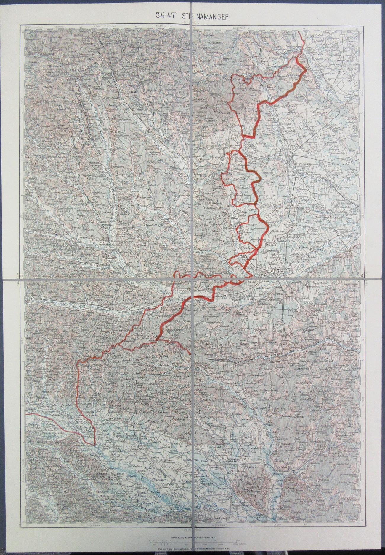 Neuresničeni nemški načrt za nov izris meje z vključitvijo Porabja, ki ga je izdal Kartografski (prej Vojaško- geografski) inštitut na Dunaju. Na jugu in jugozahodu bi priključili ozemlje v smeri Ritkarovci-Verica v predelu Dveh Dolin (madž. Kétvölgy) vse do Katinbrega (Katicin breg; nem. Katharinaberg) tik ob madžarsko- jugoslovanski meji. Politisches Archiv des Auswärtigen Amts. Berlin (1934-), R 105159, Pol. XII 39. Kartenbeilage XI. Geheime Reichssache.