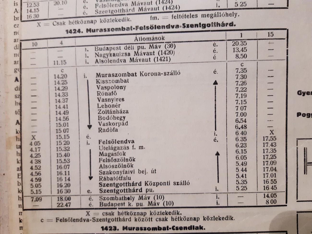 Vozni red avtobusov med Mursko Soboto in Monoštrom med drugo svetovno vojno. Linija je bila speljana skozi štiri porabske vasi. MéV, letnik XXXV, št. 1, 4.